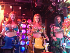 Robot girls with big boobs. Their eyes and lips moved...freaky!